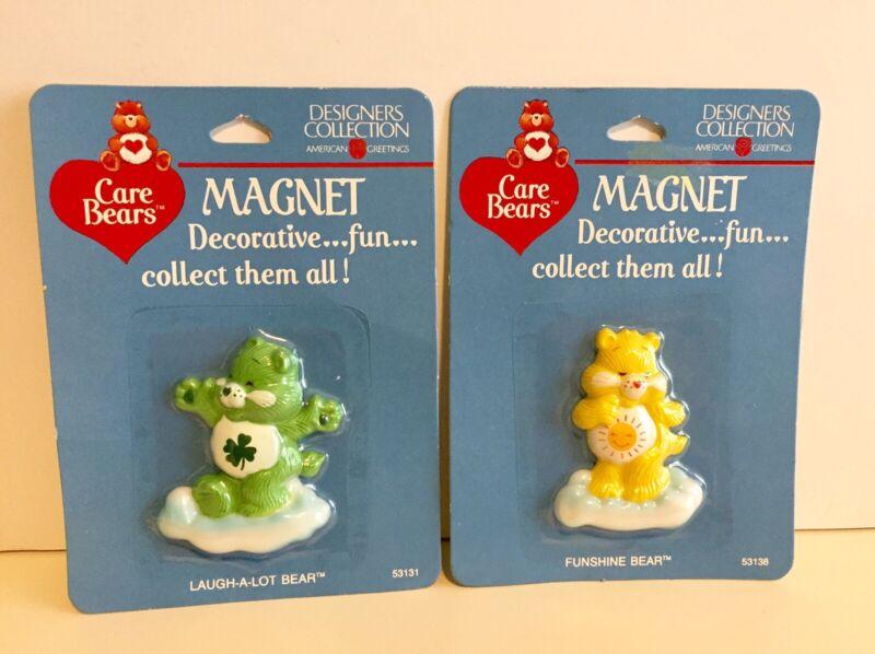 "Care Bears Magnet 2.25"" Funshine Bear & Laugh-A-Lot Bear New on Card 1985"