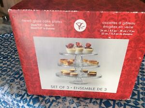 Tiered glass cake plates  set of three for $10