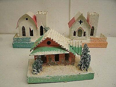 Lot of 3 Vintage Christmas Putz House Church Made in Japan