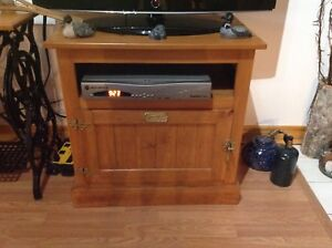 Pine White clad TV stand made in U.S.A