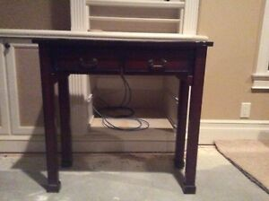 Dark Wood 2 Drawer Table