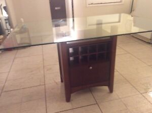 Solid wood storage,top glass dining table,great condition