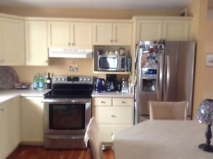 Kitchen cabinets and island pub table
