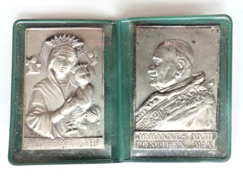 VTG POPE JOANNES XXXIII PONT MAX OUR LADY OF PERPETUAL HELP POCKET SHRINE MEDALS