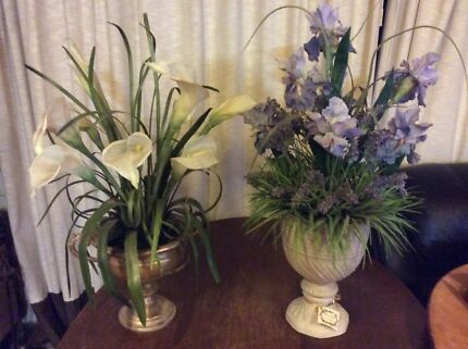 Heavy ceramic or concrete vases artificial flower arrangement
