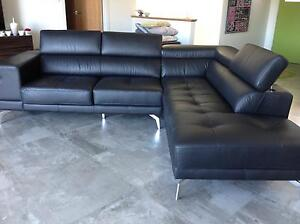 Riley Black leather 2 seater & chaise 2600mm x 2200mm x 900mmH Pottsville Tweed Heads Area Preview