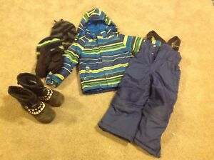 Boys 4T snowsuit, boots, hat and mitts