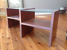 Brown laminate and glass bedside tables (2) Lane Cove Lane Cove Area Preview