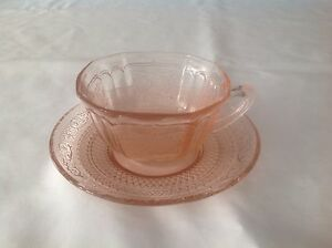 Pink Depression glass cup & saucer