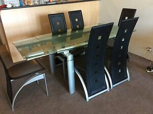 Quality extendable glass dining table & 6 chairs Stanmore Marrickville Area Preview