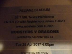 NRL ROOSTERS V DRAGONS ANZAC MATCH 2 x ADULT TICKETS Greystanes Parramatta Area Preview