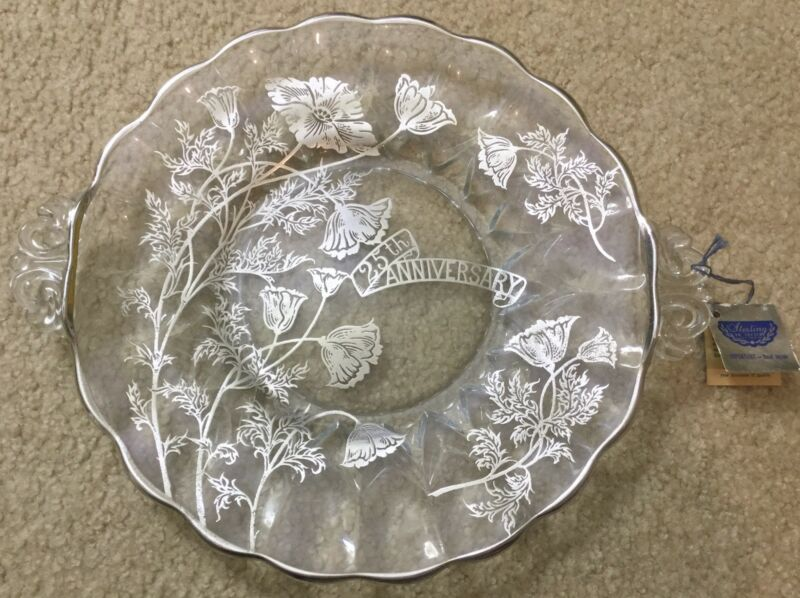 Vintage Silver City Glass Co. 25th Anniversary Crystal Plate