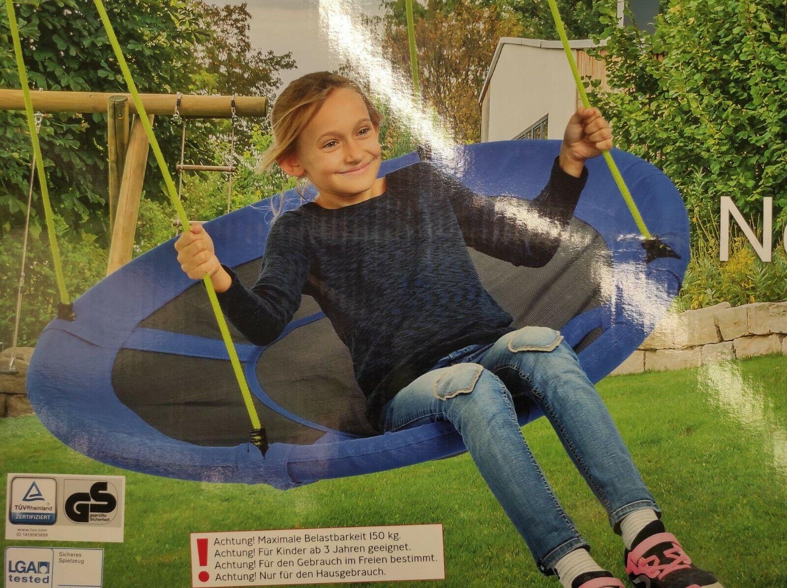 Nestschaukel Tellerschaukel Ø110cm Bis 150 KG Kinder/Erwachsene Rund Blau Garten