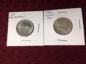 SILVER 1967 and 1968 Canadian 25 Cents AU.