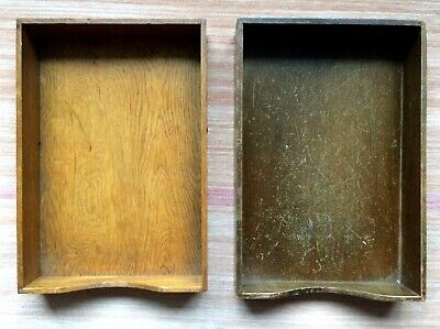 Vtg Wood Tray Desk Paper File Tray Box Office Dovetailed Two Legal Size Trays