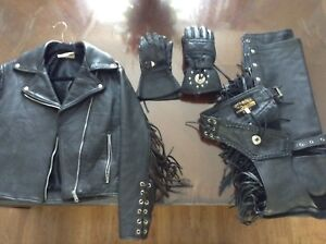 Ladies leather coat chaps and gloves