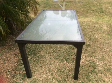 Large glass topped table