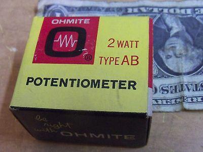 Ohmite Clu5011 Potentiometer Rv4laysa501a 500 Ohms 2 Watt Ab New Usa Nib Nos Vtg