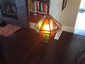 Mid Century Danish Vintage Textured Stained Glass Pendant Lamp