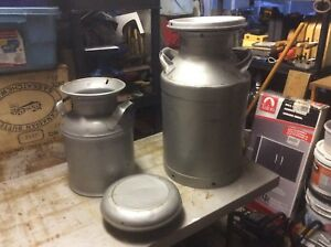 Two Milk Cans and One large Milk Can Lid