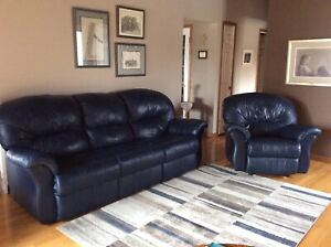 Navy Blue Leather Couch Set