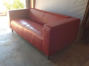 Red 2.5 seater Leather Sofa like new North Beach Stirling Area Preview