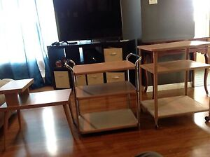 2 metal stands and 1 side table (salmon color)