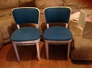 Both for $30 Blue and white chairs