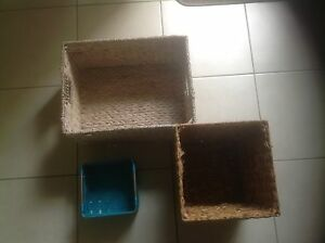 Raffia baskets / bin x 3 Lutwyche Brisbane North East Preview