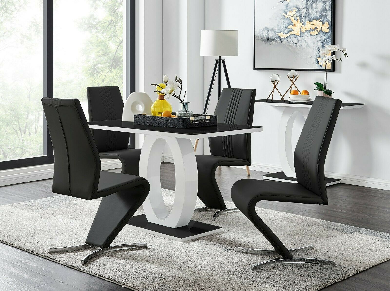 Black Gloss Charisma Rectangular Dining Set 4 Chairs Nextday Delivery For Sale Ebay