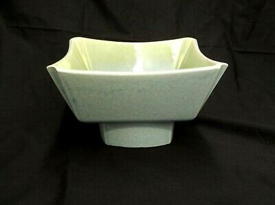 SQUARE PEDESTAL PLANTER BOWL BLUE GREEN CERAMIC GARDEN PATIO