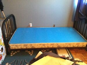 Single twin bed frame and box spring