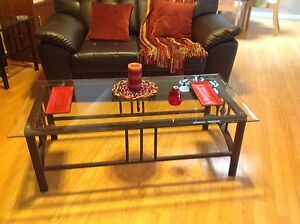 Modern 4 pc glass tables with hammered look metal