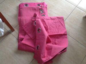 Blockout Eyelet Curtains hot pink