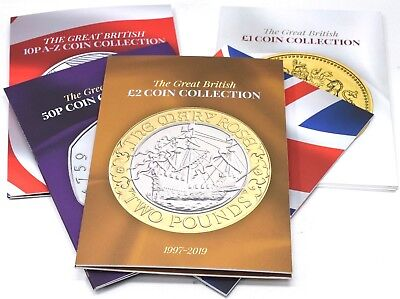5 x ALBUM BUNDLE GREAT BRITISH COIN HUNT COLLECTION £2 £1 50P OLYMPIC 10P