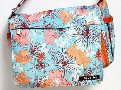 JuJuBe Diaper Bag Groovy Gardens Blue Flowers Messenger Changing Pad Originals