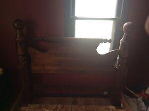 Antique Wooden Framed Bed Frame