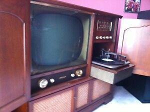 All original antique TV, radio and turn table