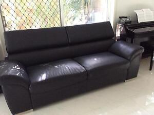 3 seater black  PU Leather lounge Ashmore Gold Coast City Preview