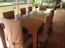 Extra Large Silky Oak Table & wicker chairs Glenvale Toowoomba City Preview