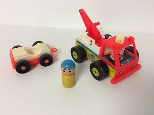 Fisher Price vintage Little People Tow Truck and Car set 1969