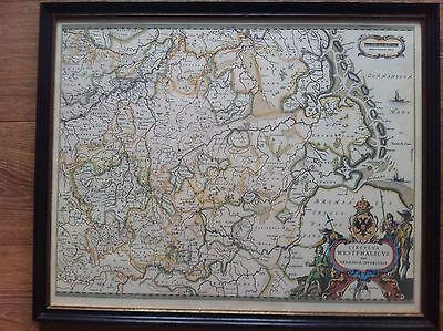 Westfalenkarte Altkoloriert Nachdruck Eines alten Kupferstich aus Privatsammlung