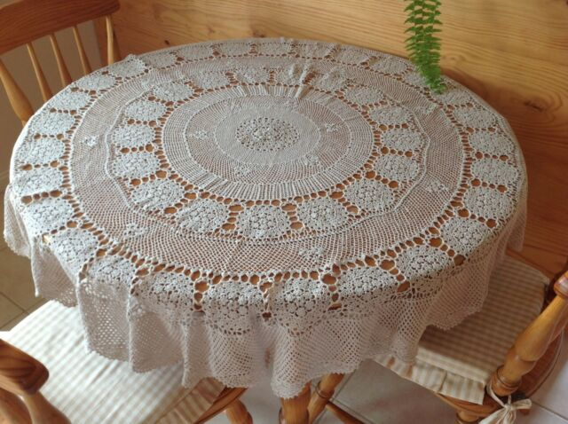 Lace table cloth Vintage beige round tablecloth Floral Embroidery Filet lace.