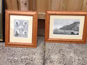 TWO CAPTAIN COOK ANTIQUE PRINTS BEAUTIFULLY FRAMED $100 for both Ormond Glen Eira Area Preview