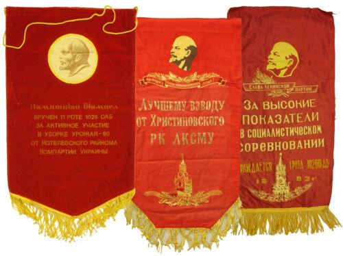 Soviet military velvet Banner USSR + GIFT 2 pcs silk banner with Lenin