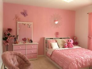 Girls double bedroom set + room decor