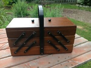 Vintage accordion style sewing box,,,,,item located in Paris