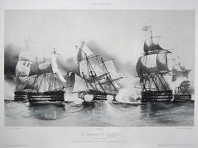 Durand-Brager Original Lithografie Seeschlacht Trafalgar Frankreich England 1844