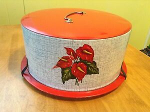 Vintage 1950's Decoware Red Calla Lilly Cake Tin Carrier Saver
