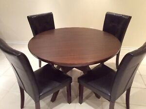 """48"""" round dining table and 4 leather chairs"""